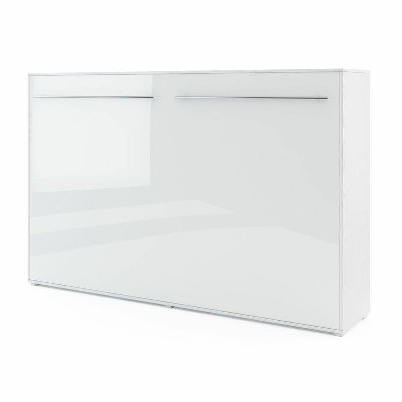 White Gloss Van Wyck Murphy Bed with Mattress