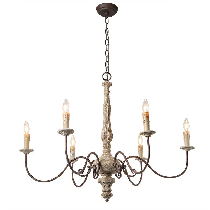 Ophelia co leib elegance french country 6 light candle style leib elegance french country 6 light candle style chandelier mozeypictures Images