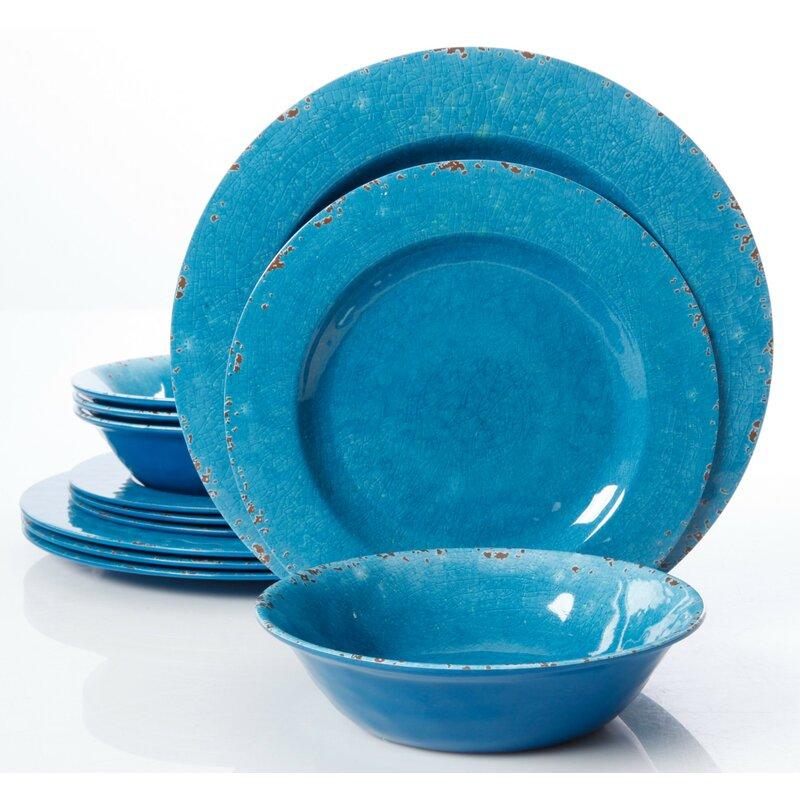 Candice Crackle Melamine 12 Piece Dinnerware Set Service for 4  sc 1 st  Wayfair & Beachcrest Home Candice Crackle Melamine 12 Piece Dinnerware Set ...