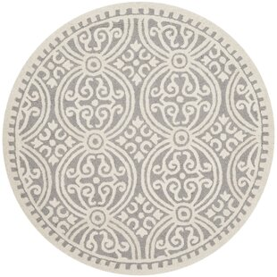 Arana Hand-Tufted Silver/Ivory Area Rug by Highland Dunes
