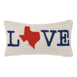 Texas Love Hook Wool Lumbar Pillow