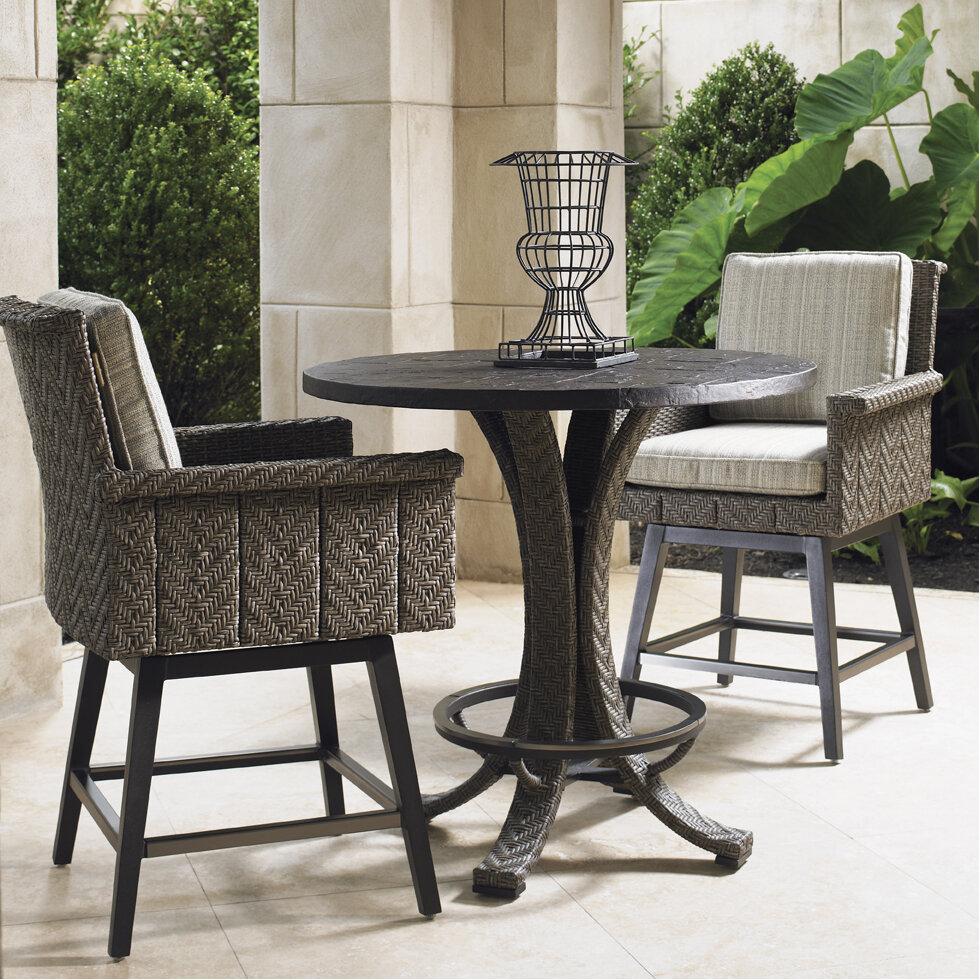 Tommy bahama outdoor blue olive 26 5 patio bar stool with for Bahama towel chaise cover