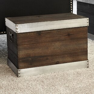 Small Trim Wooden Storage Trunk By Household Essentials