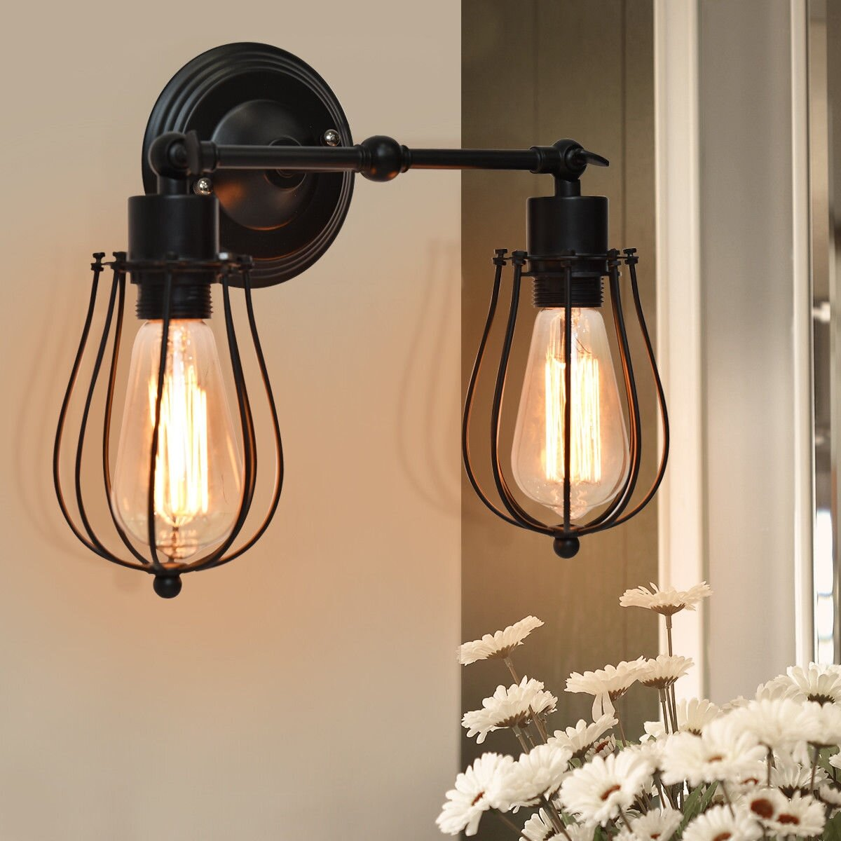 17 Stories Chorley 2 Light Dimmable Black Armed Sconce Wayfair