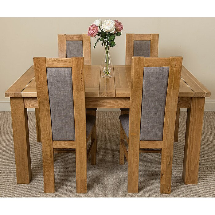 Sairsingh Kitchen Solid Oak Dining Table With 4 Chairs