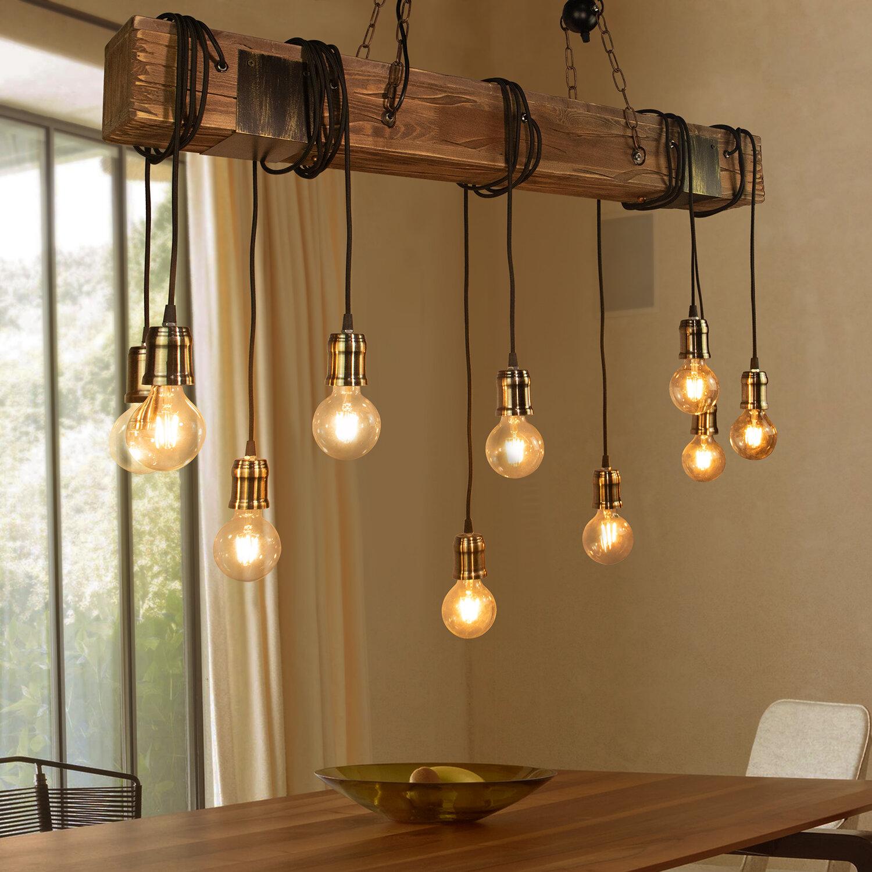 Loon Peak Lumsden 10 Light Kitchen Island Bulb Pendant With Wood Accents Reviews Wayfair