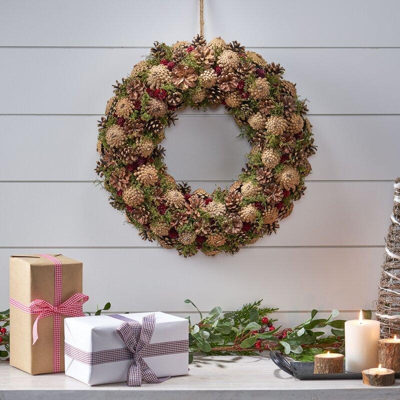 The Holiday Aisle Christmas 18 5 Pinecone Wreath Wayfair