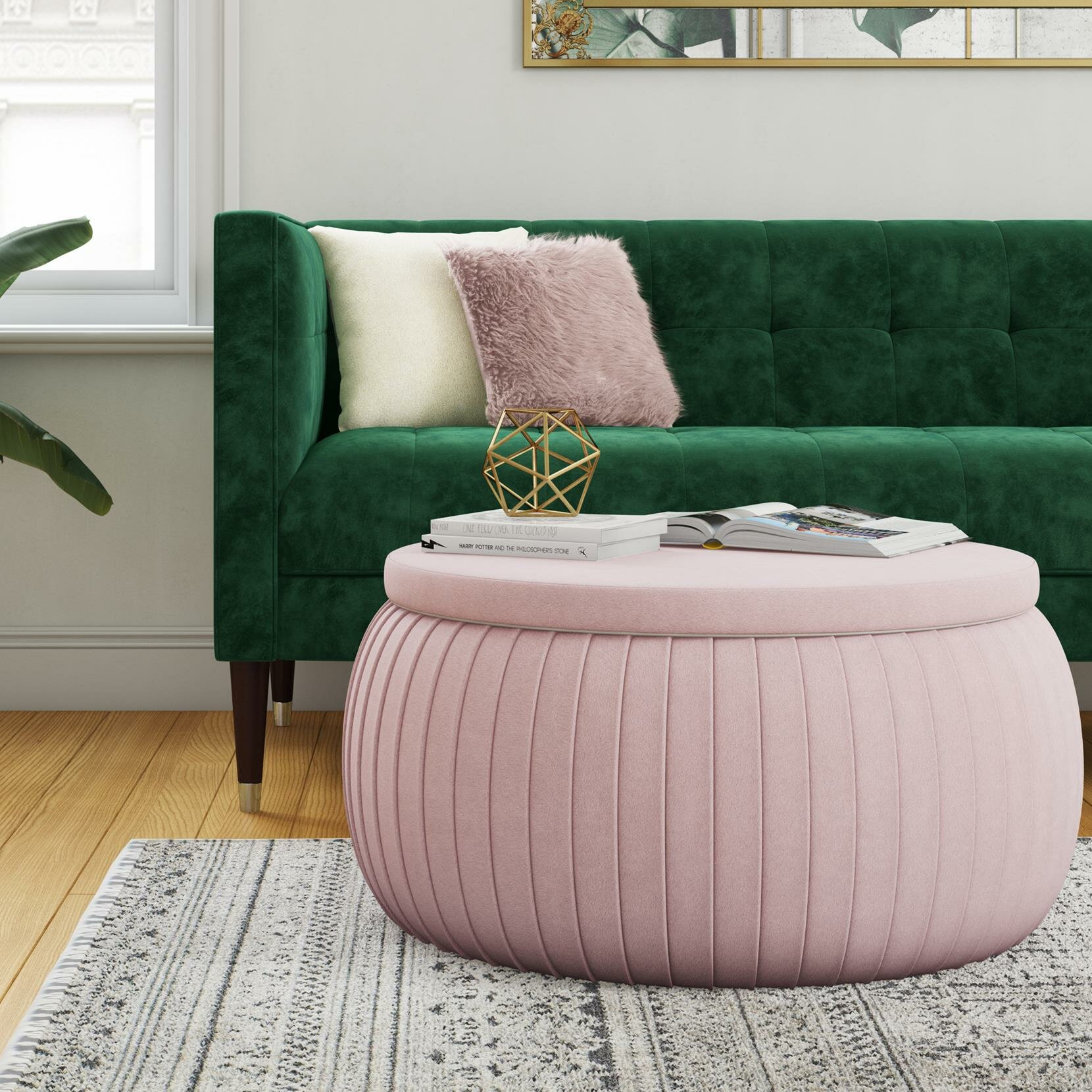 Sapphire Round Storage Ottoman