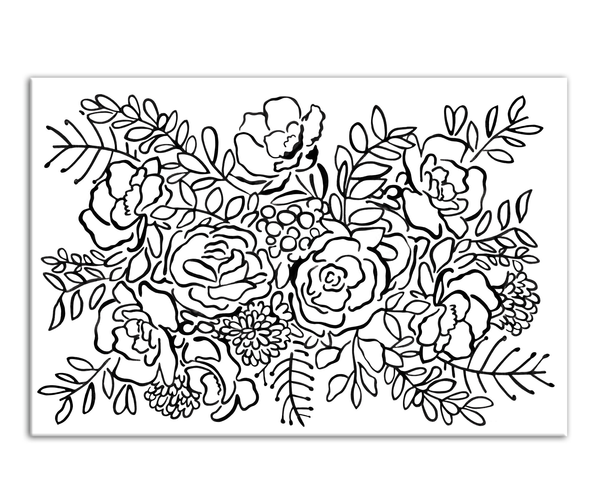 bungalow rose rose bush sketch drawing print on wrapped canvas Chocolate Front Door bungalow rose rose bush sketch drawing print on wrapped canvas wayfair