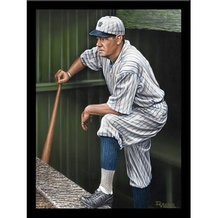 'Babe Ruth on the Top Step of Dugout' Print Poster by Darryl Vlasak Framed Memorabilia by Buy Art For Less