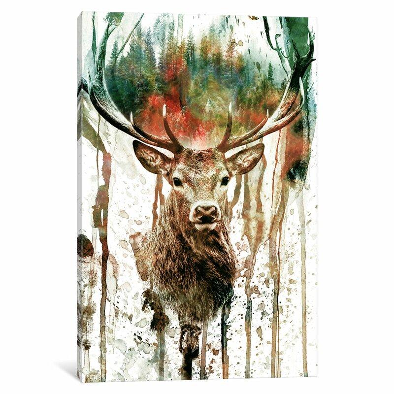 East Urban Home Deer I Graphic Art Print On Canvas Wayfair