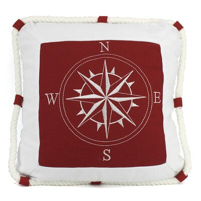 Compass With Nautical Rope Pillow Cover Handcrafted Nautical Decor Color: Red