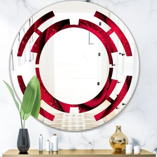 Space Petals with Rain Droplets Modern  Contemporary Frameless Wall Mirror by East Urban Home