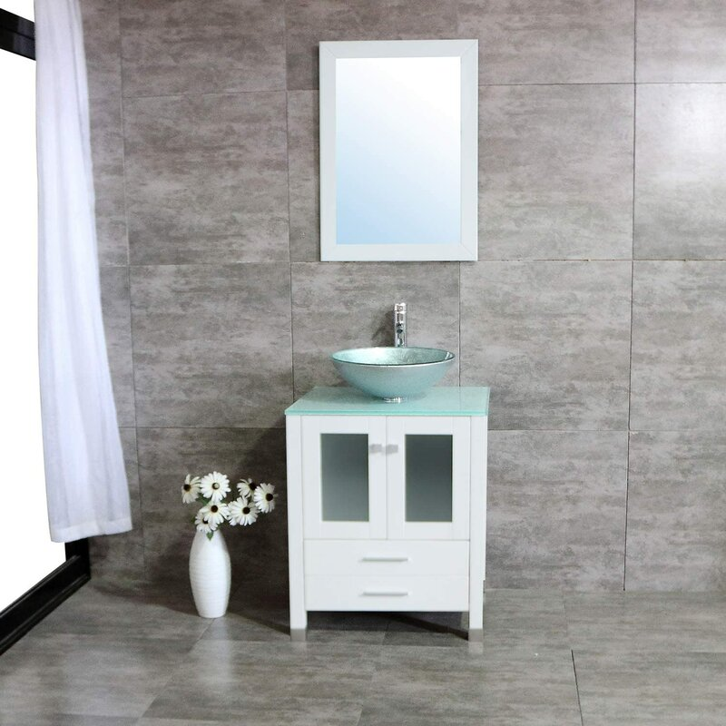 Ebern Designs Abniel 24 Single Bathroom Vanity Set With Mirror Wayfair