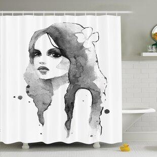 Watercolor Portrait Art Shower Curtain Set