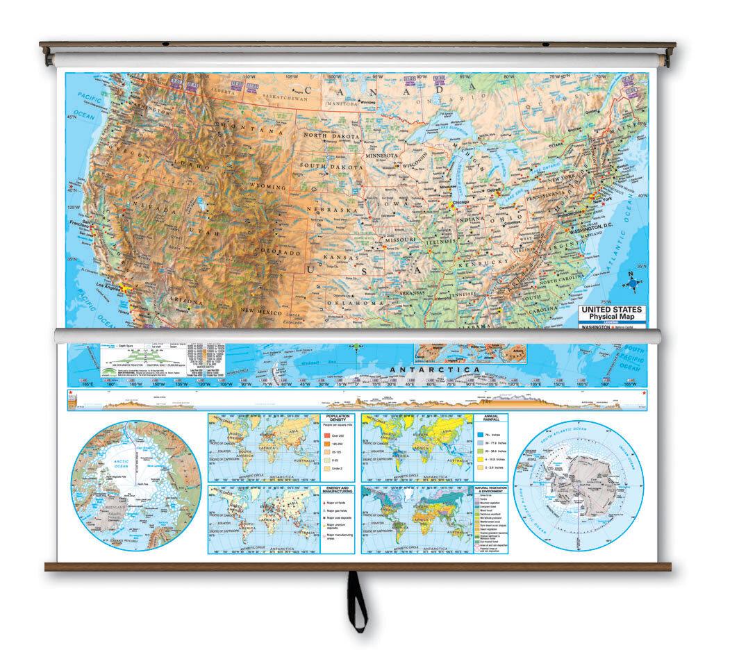 Image of: Universal Map Advanced Physical Map Combo U S World Wayfair