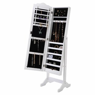 Couch Lockable Free Standing Jewelry Armoire with Mirror