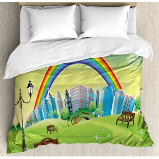 East Urban Home Cartoon Nursery Park Bench Hills Apartments Rainbow Beams Flowers Art Print Duvet Set