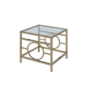 Mercer41 Singletary Glass Top Metal Base End Table