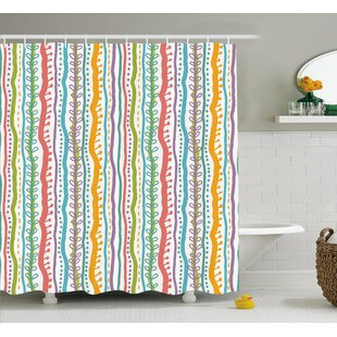 Compare prices Santos Vertical Swirl Lines Shower Curtain ByHarriet Bee