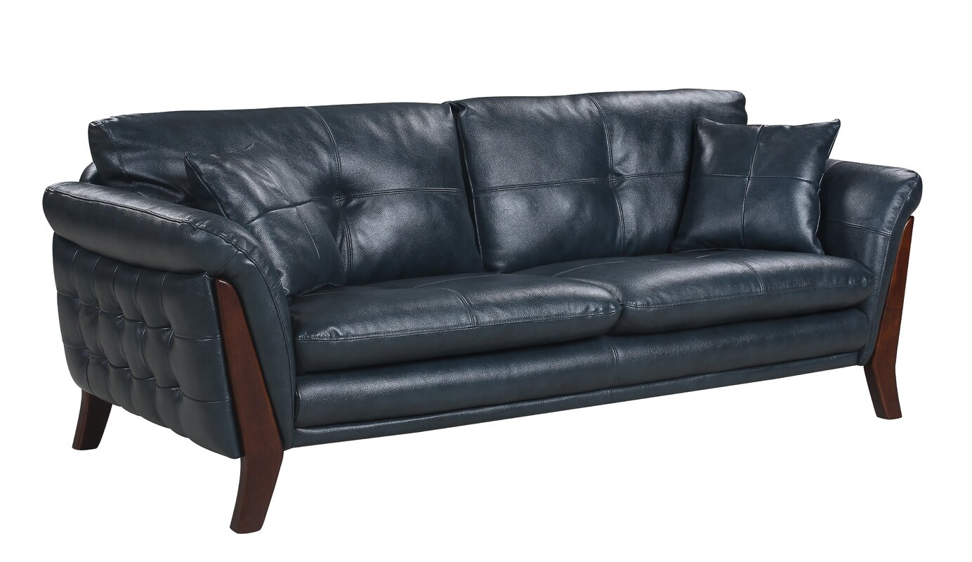 Good Makeba Mid Century Modern Real Leather Sofa