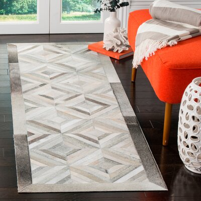 Brayden Studio Cartwright Handwoven Leather Gray Area Rug Rug Size: Rectangle 3' x 5'