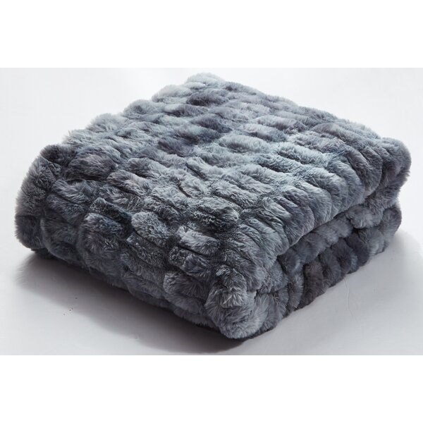 Aqua Faux Fur Throw Wayfair