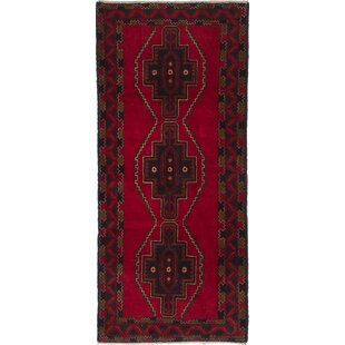 Find the perfect One-of-a-Kind Johnone Royal Baluch Hand-Knotted 2'9 x 6'4 Wool Red/Black Area Rug By Isabelline