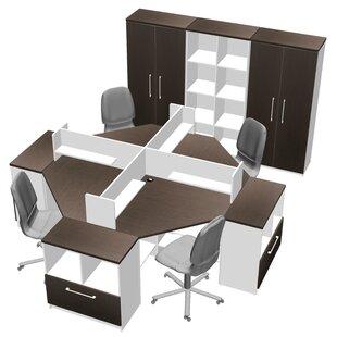 Triangular Corner 14 Piece L-Shaped Desk Office Suite by TeamCENTERoffice