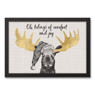 Christmas Comfort Moose Framed Graphic Art Print On Canvas