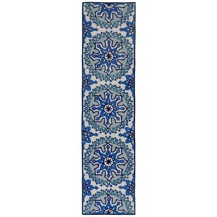 Petterson Moroccan Medallion Hand-Tufted Blue/Aqua Indoor/Outdoor Area Rug