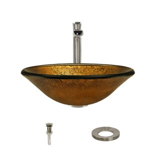 Foil Undertone Glass Circular Vessel Bathroom Sink with Faucet By MR Direct