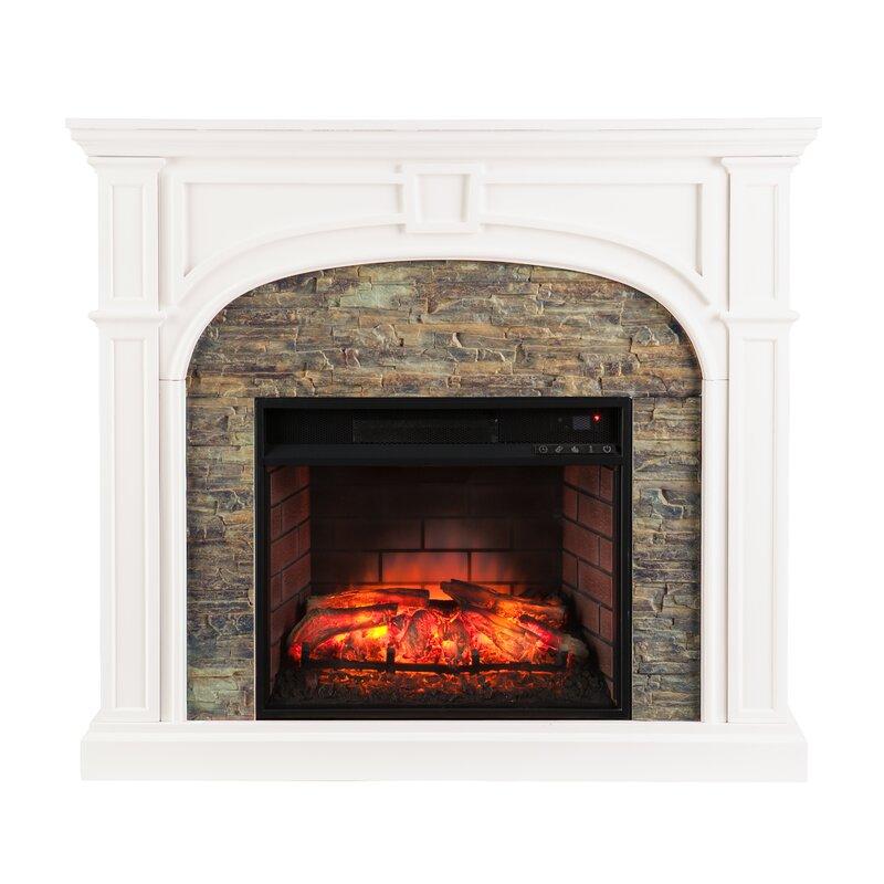 Alcott Hill Shanks Faux Stone Electric Fireplace Reviews Wayfair