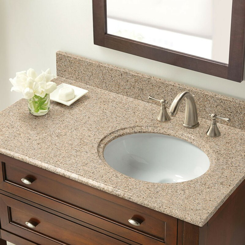 Granite 37 Single Bathroom Vanity Top With Right Offset Bowl