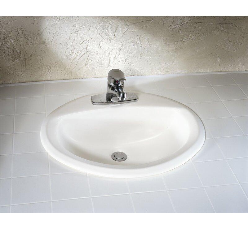 Aqualyn Ceramic Oval Drop In Bathroom Sink With Overflow