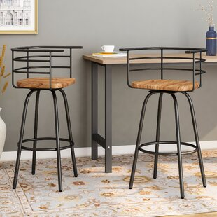 Noelia Industrial Modern 29 Swivel Bar Stool (Set of 2)
