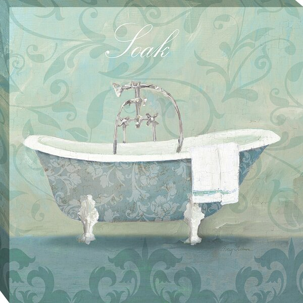 Tangletown Fine Art Damask Bath Tub by Avery Tillmon Framed Painting ...