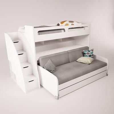 Brayden Studio Gautreau Twin Futon Bunk Bed With Bookcase Reviews