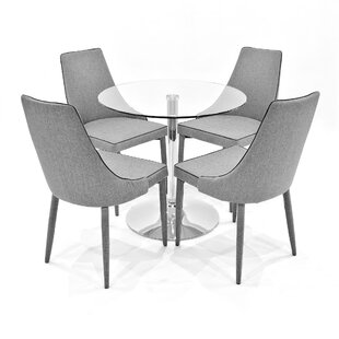 Iron Dining Set With 4 Chairs By Metro Lane