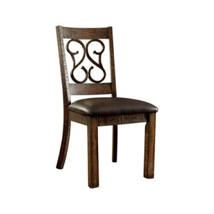 Crumley Wooden Side Leather Upholstered Dining Chair (Set of 2) by Fleur De Lis Living