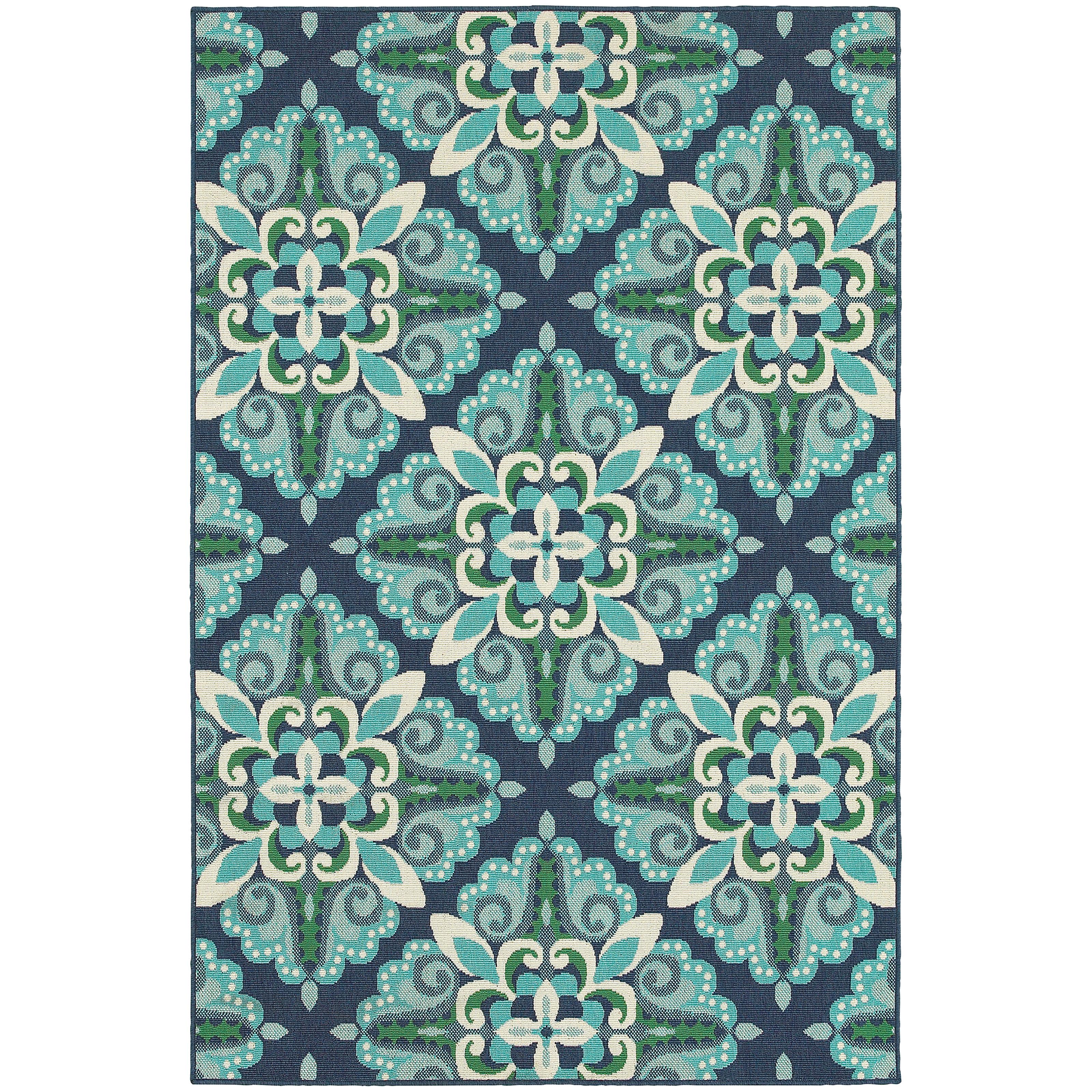 Beachcrest home kailani contemporary blue green indoor outdoor area rug reviews wayfair