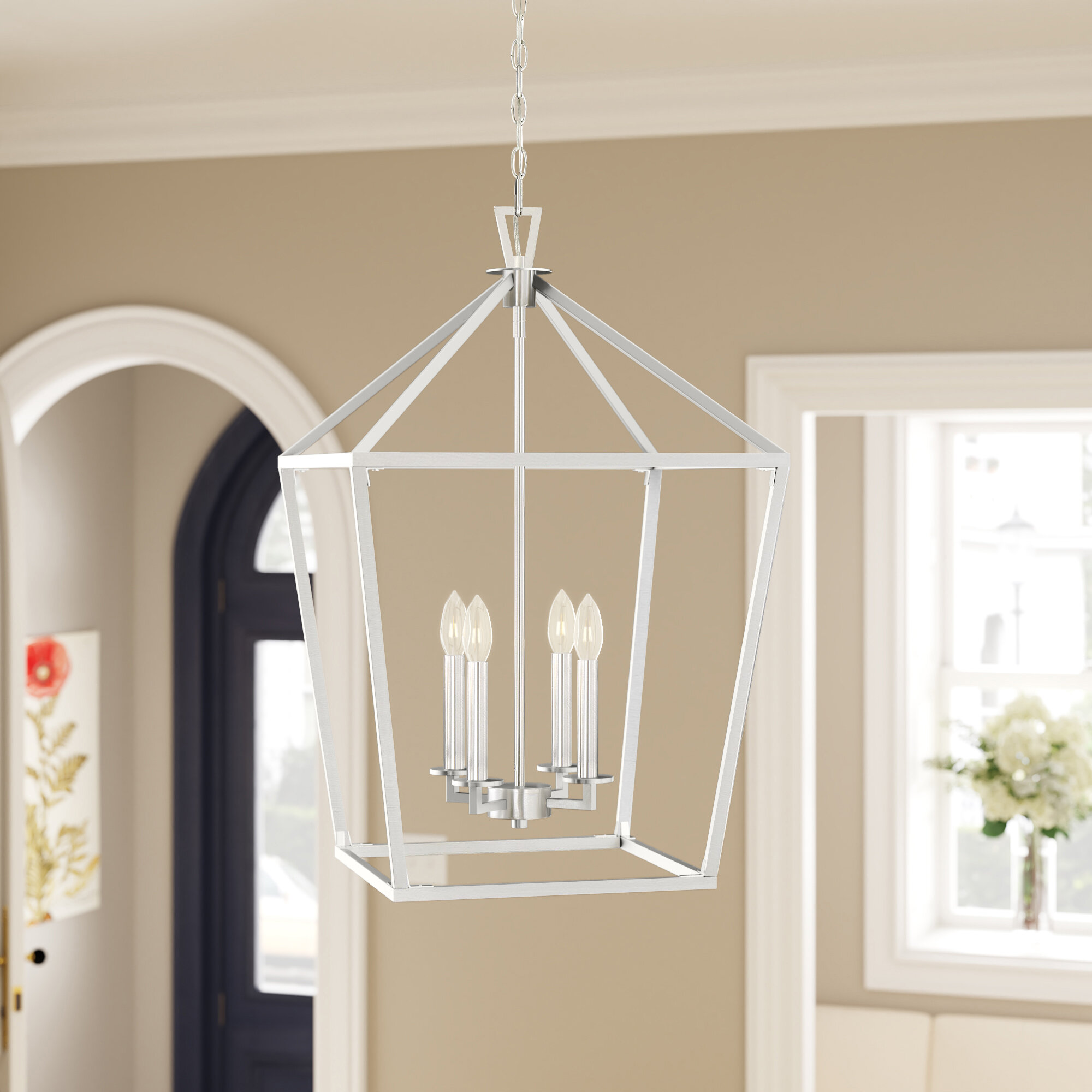 Israel 4 Light Lantern Geometric Chandelier Reviews Birch Lane