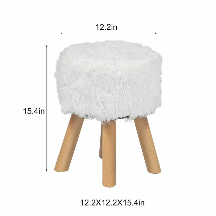 Sensational Leander Faux Wool Fur Round Decorative Vanity Stool Short Links Chair Design For Home Short Linksinfo