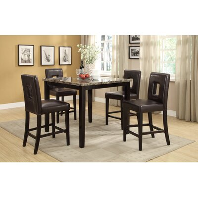Reagan 5 Piece Counter Height Dining Set A&J Homes Studio Upholstery Color: Dark Brown, Top Finish: Brown