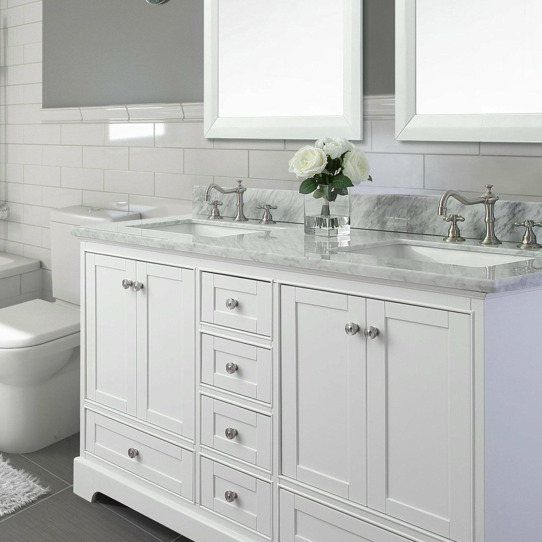 Birch Lane 72 Double Bathroom Vanity Set With Italian Carrara White Marble Top Reviews Wayfair