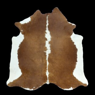 Comparison Bang 80 x 80 Cowhide Dark Caramel/White Area Rug By Foundry Select
