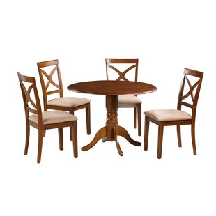 Kaylee 5 Piece Drop Leaf Solid Wood Dining Set