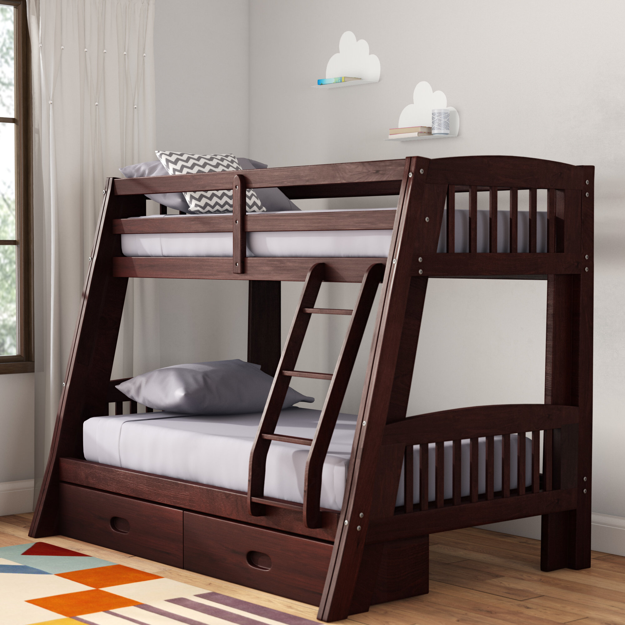 Viv Rae Madyson Twin Over Full Bunk Bed With Storage Reviews Wayfair