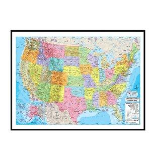 Framed Map Of United States   Wayfair on