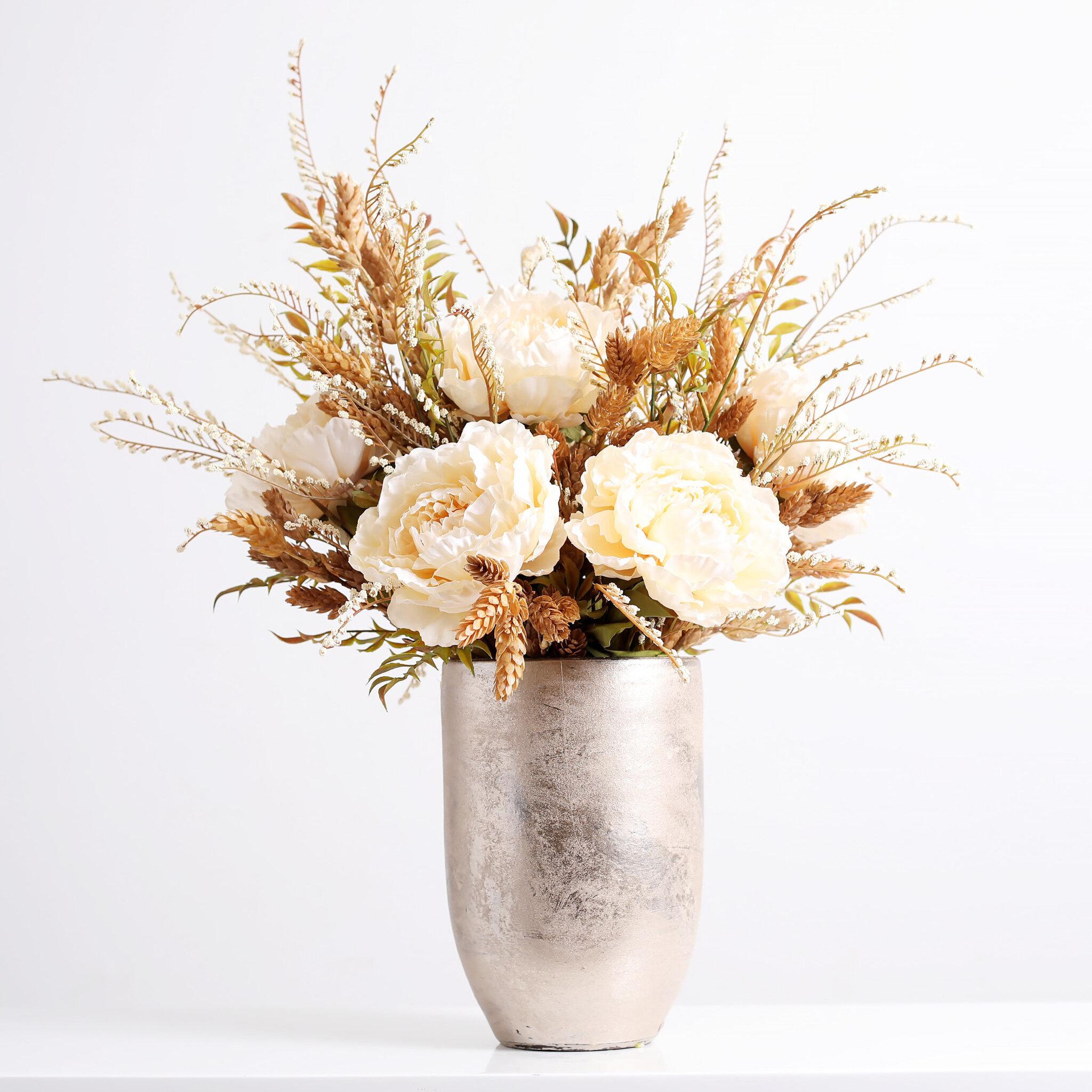 Darbycreektrading Cream Peony Hops Ruscus Fall Floral Arrangement In Gold Vase Wayfair
